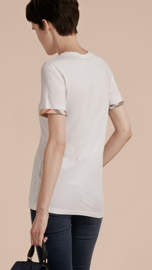 White Check Cuff Stretch Cotton T-Shirt White - Image 3