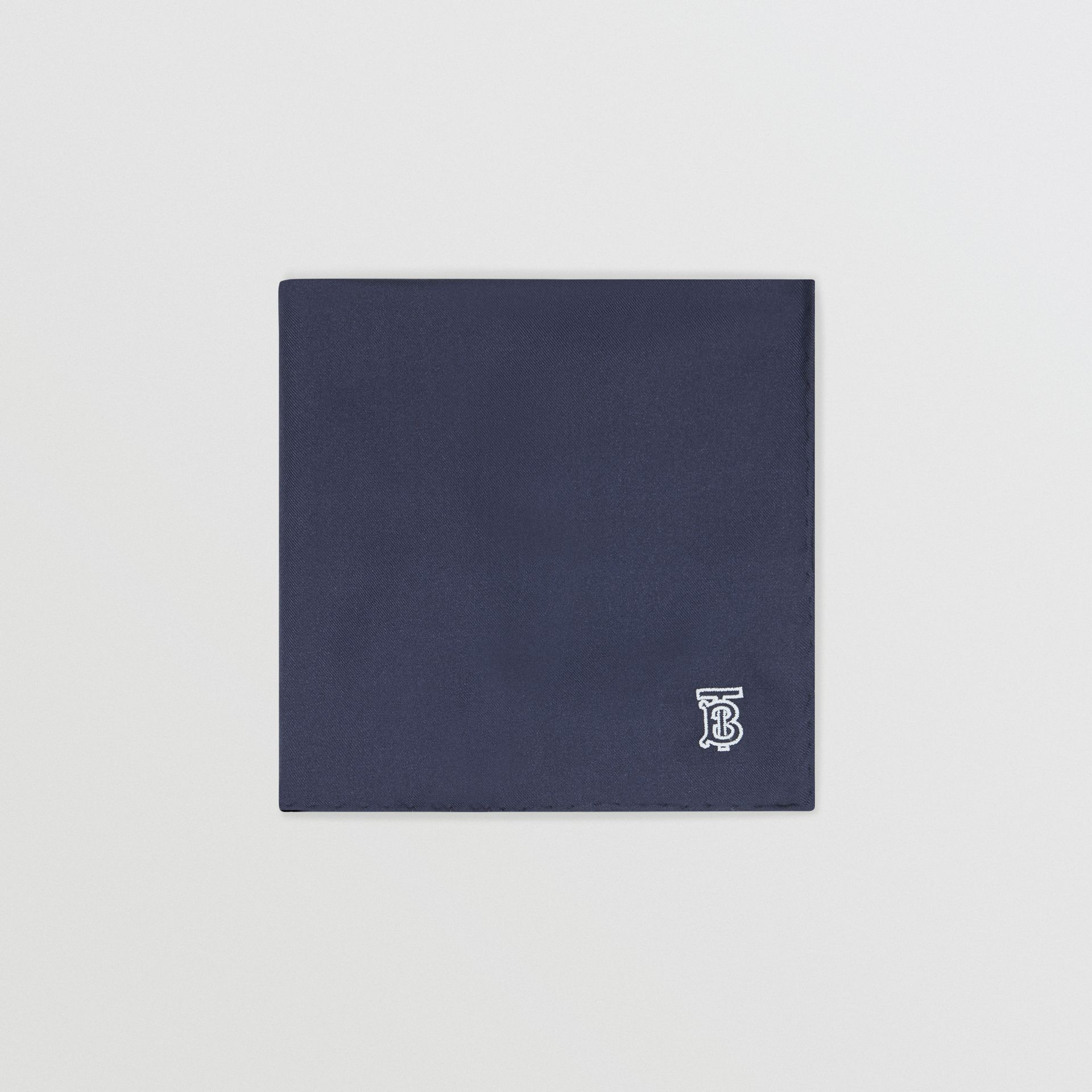 Monogram Motif Silk Pocket Square in Navy Blue - Men | Burberry Australia - gallery image 0
