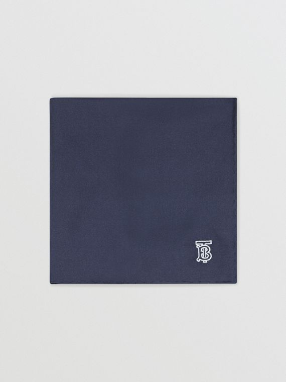 Monogram Motif Silk Pocket Square in Navy Blue