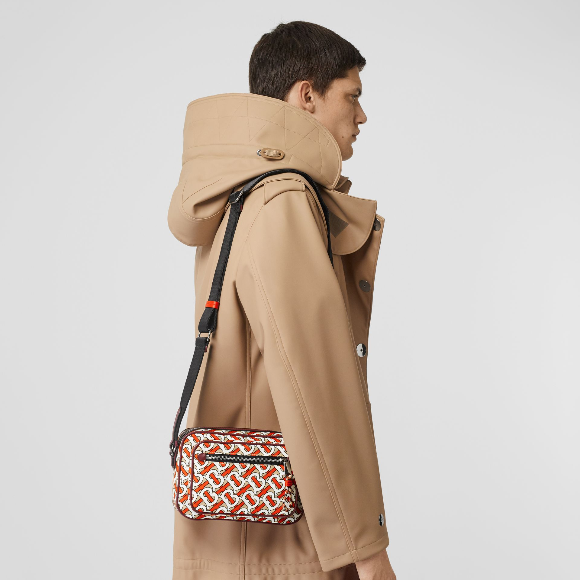 Monogram Print and Leather Crossbody Bag in Vermilion - Men | Burberry - gallery image 5