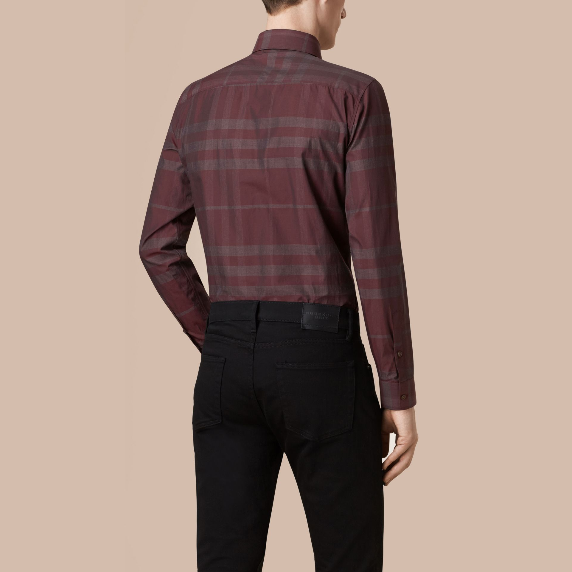 Deep burgundy Check Cotton Shirt Deep Burgundy - gallery image 3