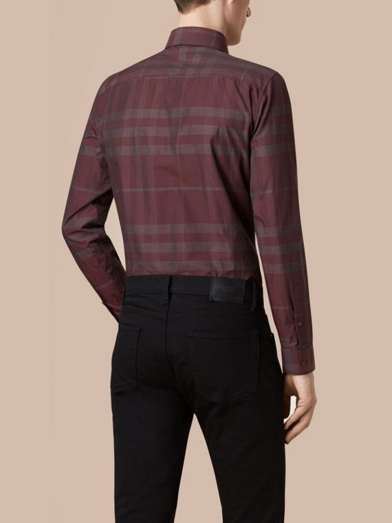 Deep burgundy Check Cotton Shirt Deep Burgundy - cell image 2