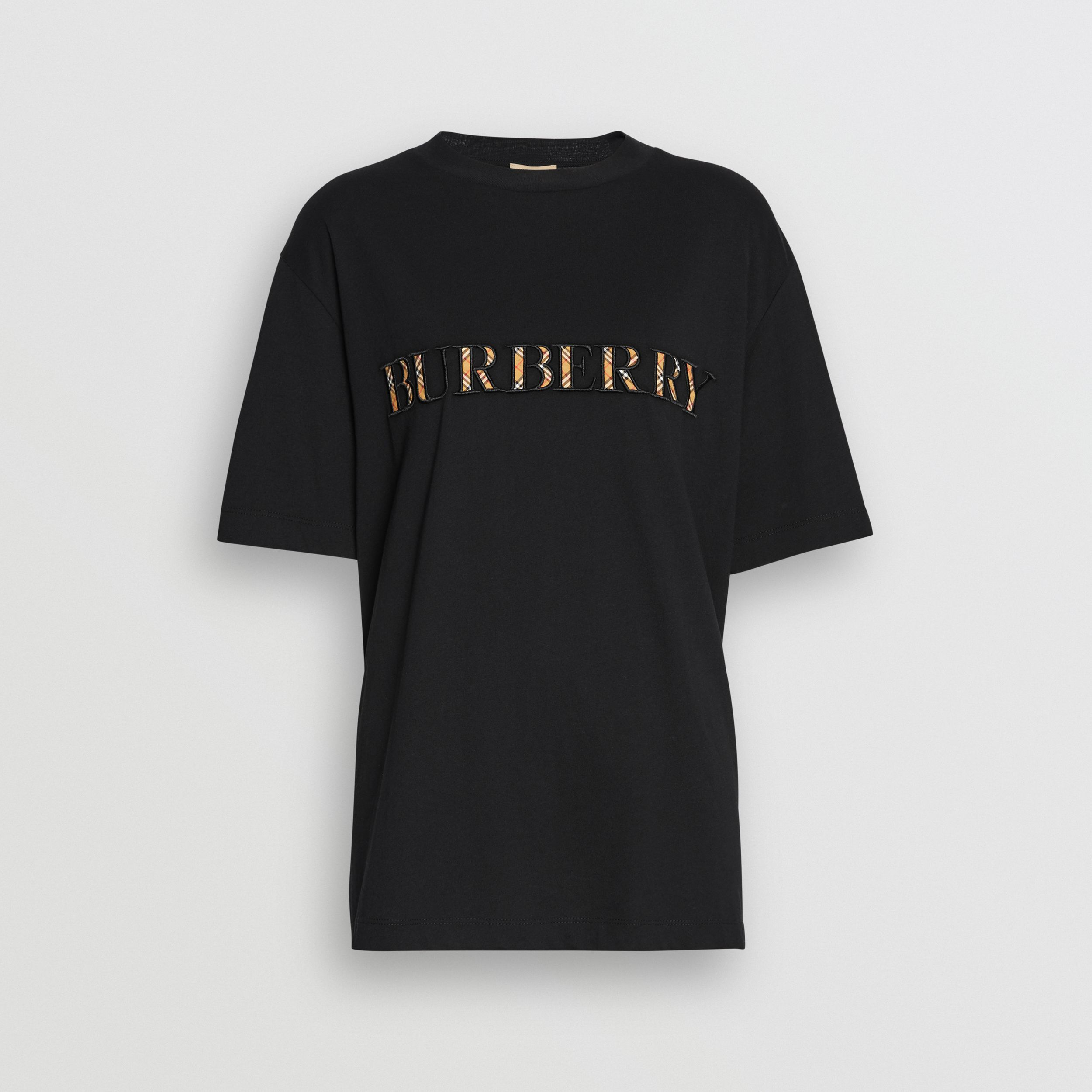 Check Logo Cotton T-shirt in Black | Burberry - 4