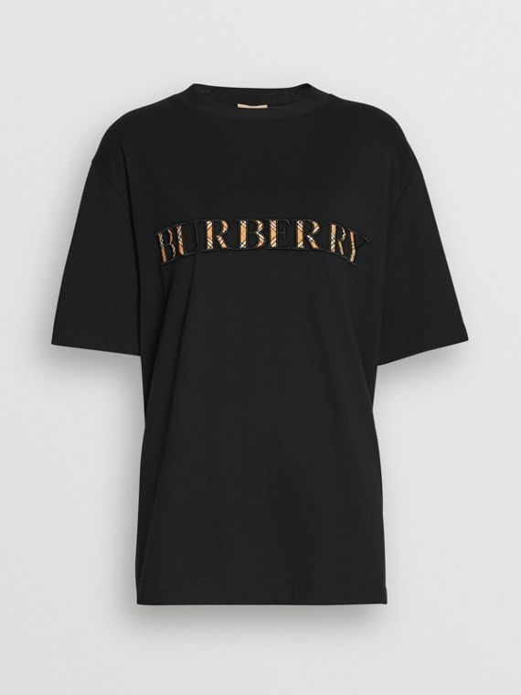 Check Logo Cotton T-shirt in Black