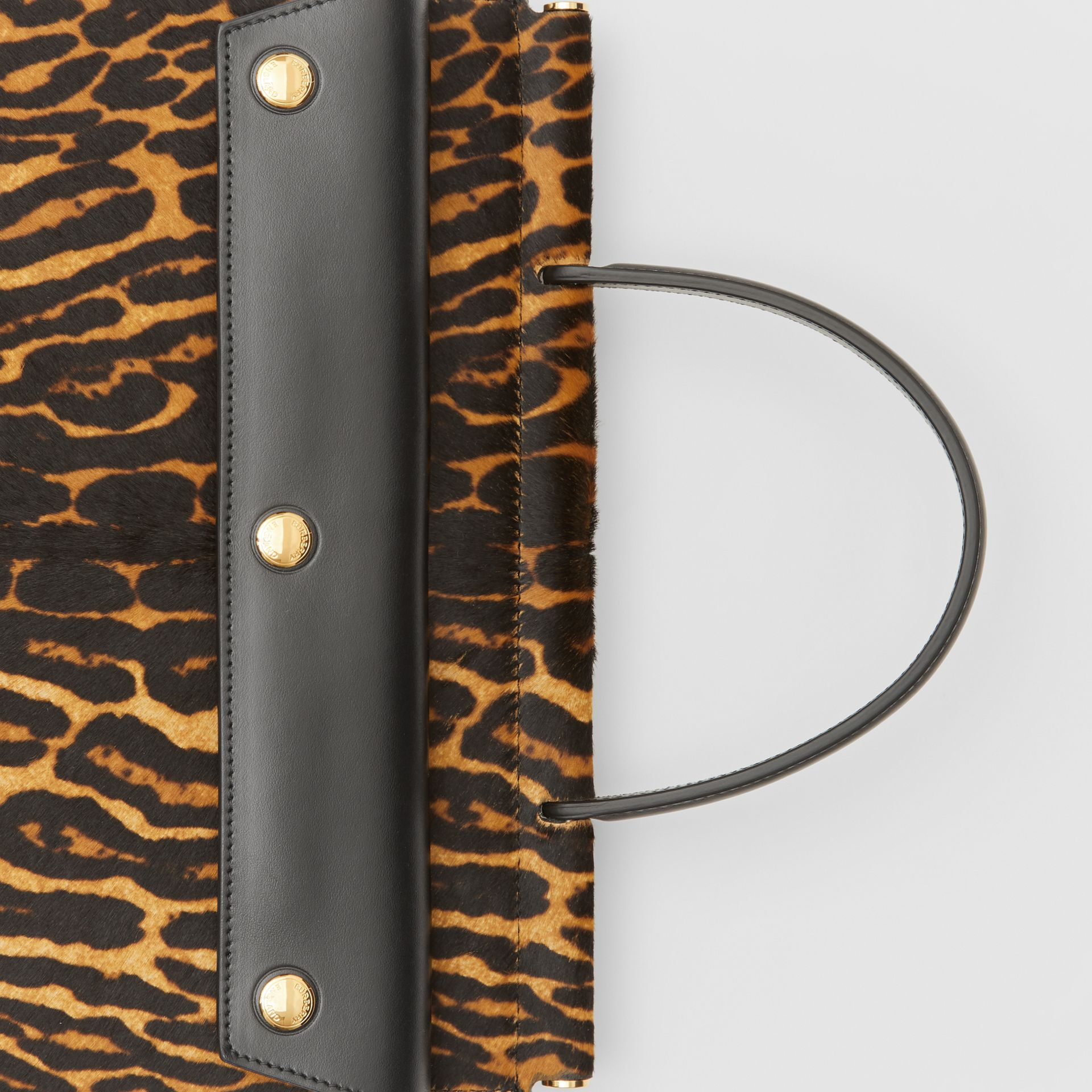 Small Leopard Print Title Bag with Pocket Detail in Black - Women | Burberry United Kingdom - gallery image 1