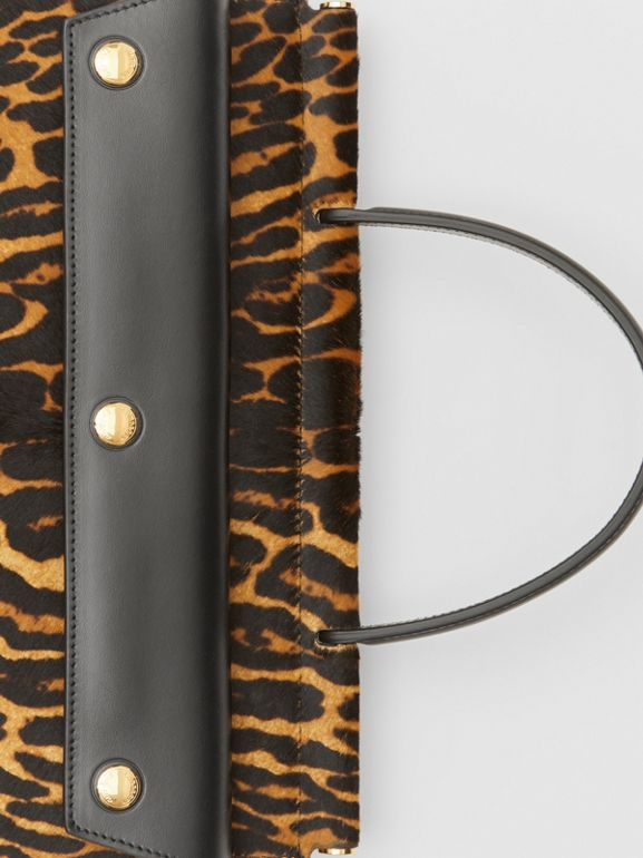 Small Leopard Print Title Bag with Pocket Detail in Black - Women | Burberry United Kingdom - cell image 1