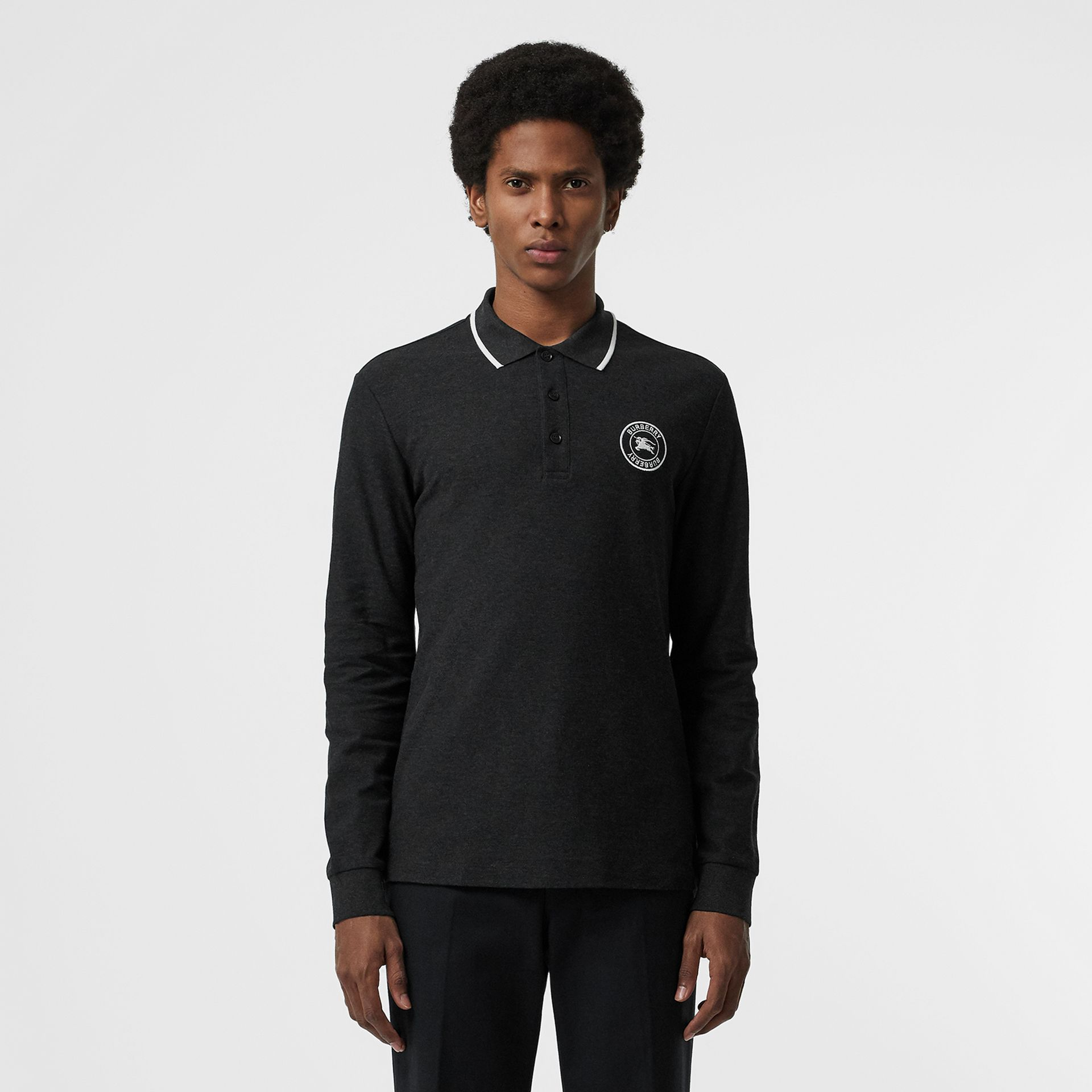 Long-sleeve Embroidered Logo Cotton Polo Shirt in Dark Grey Melange - Men | Burberry Canada - gallery image 0