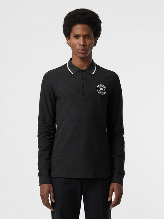 Long-sleeve Embroidered Logo Cotton Polo Shirt in Dark Grey Melange