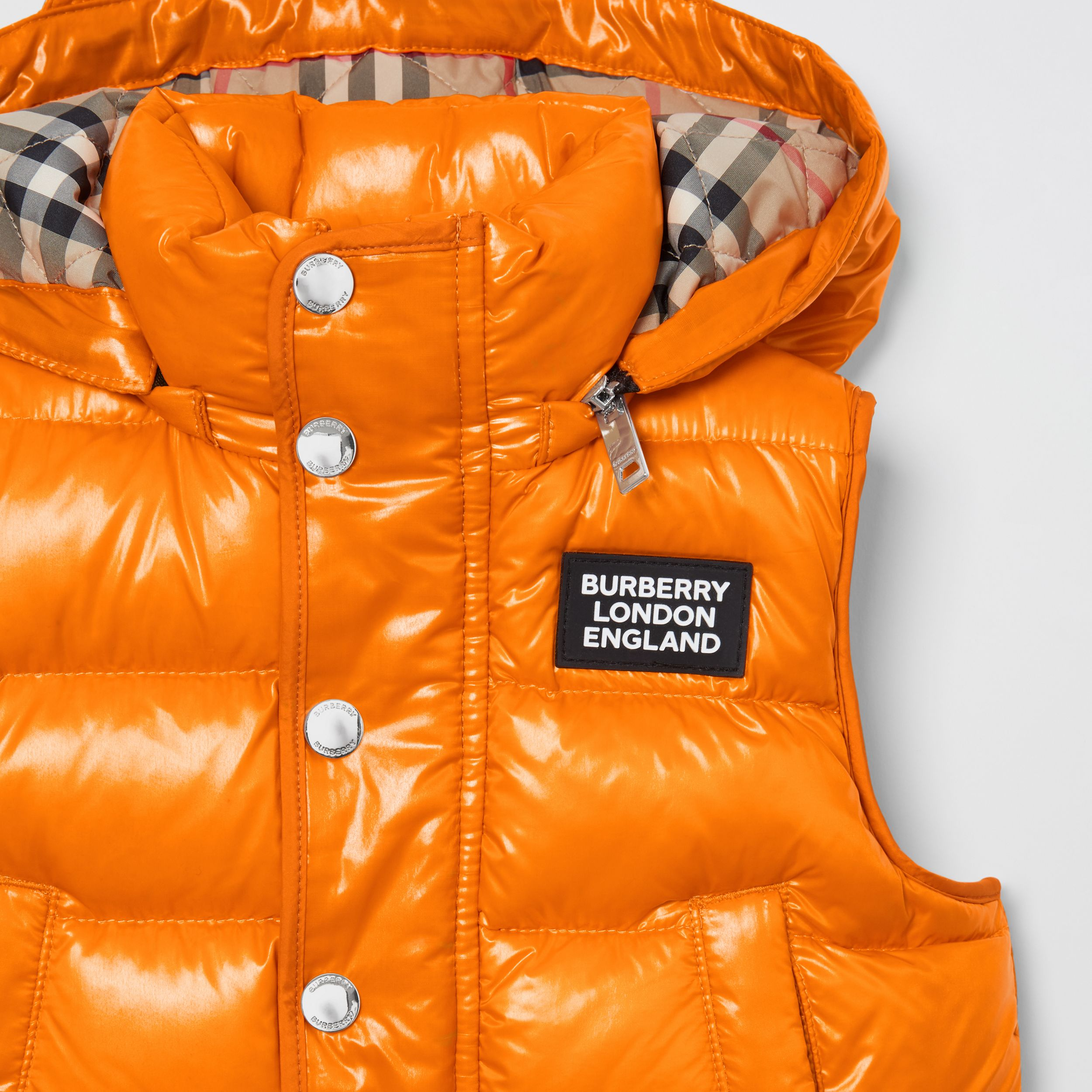Detachable Hood Nylon Puffer Gilet in Bright Mandarin - Children | Burberry - 2
