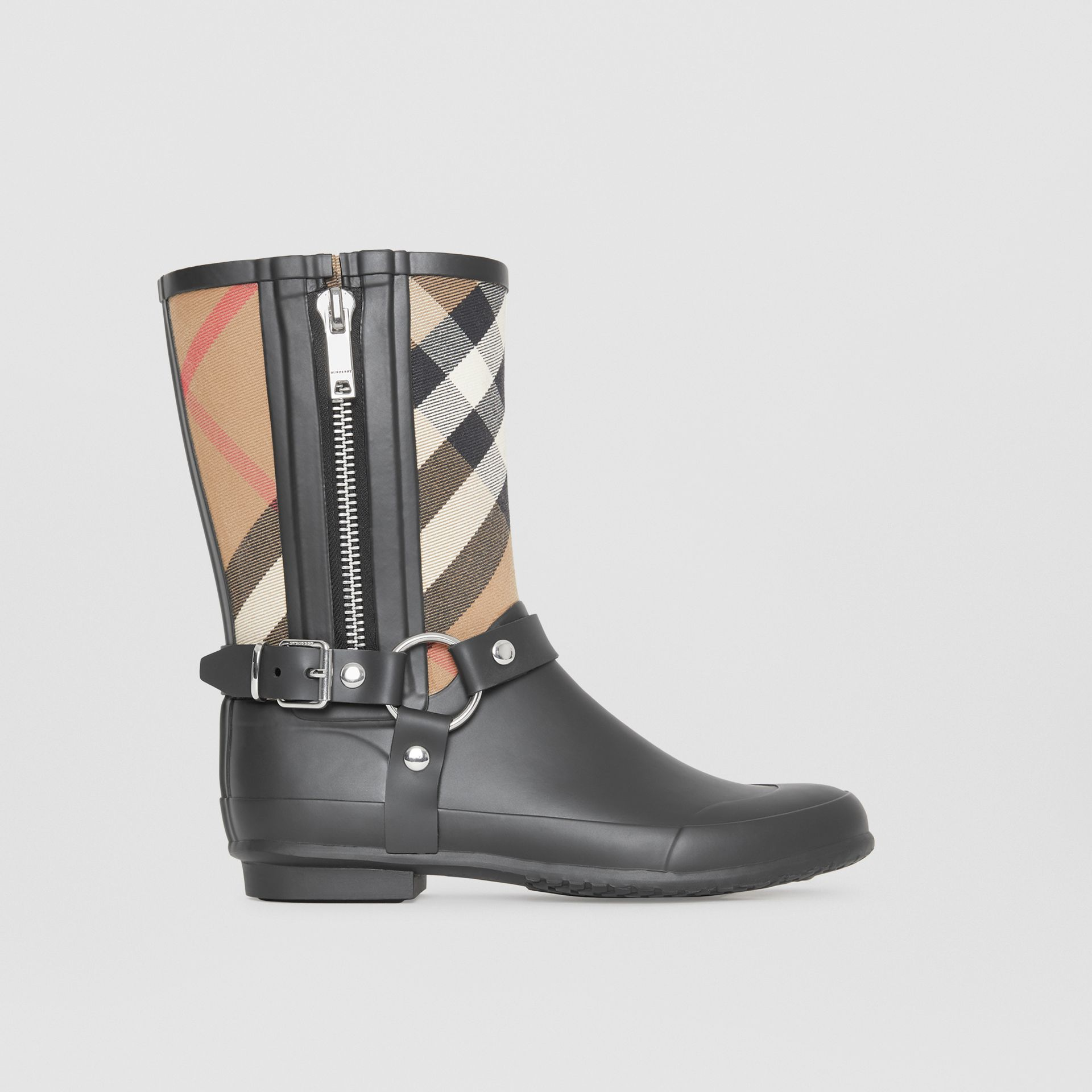 Buckle and Strap Detail Check Rain Boots in House Check/black - Women | Burberry - gallery image 5