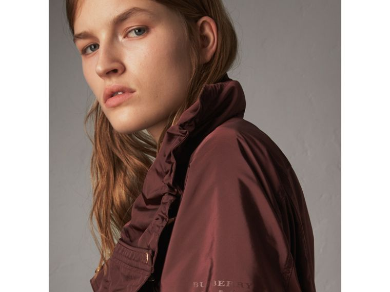 Packaway Hood Lightweight Rain Jacket in Deep Burgundy - Women | Burberry - cell image 1
