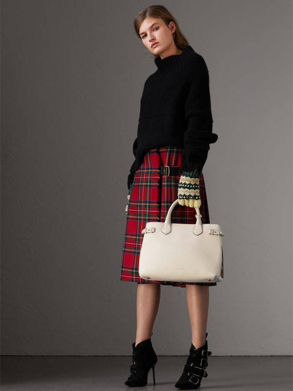 The Banner media in pelle con motivo House check (Naturale) - Donna | Burberry - cell image 2