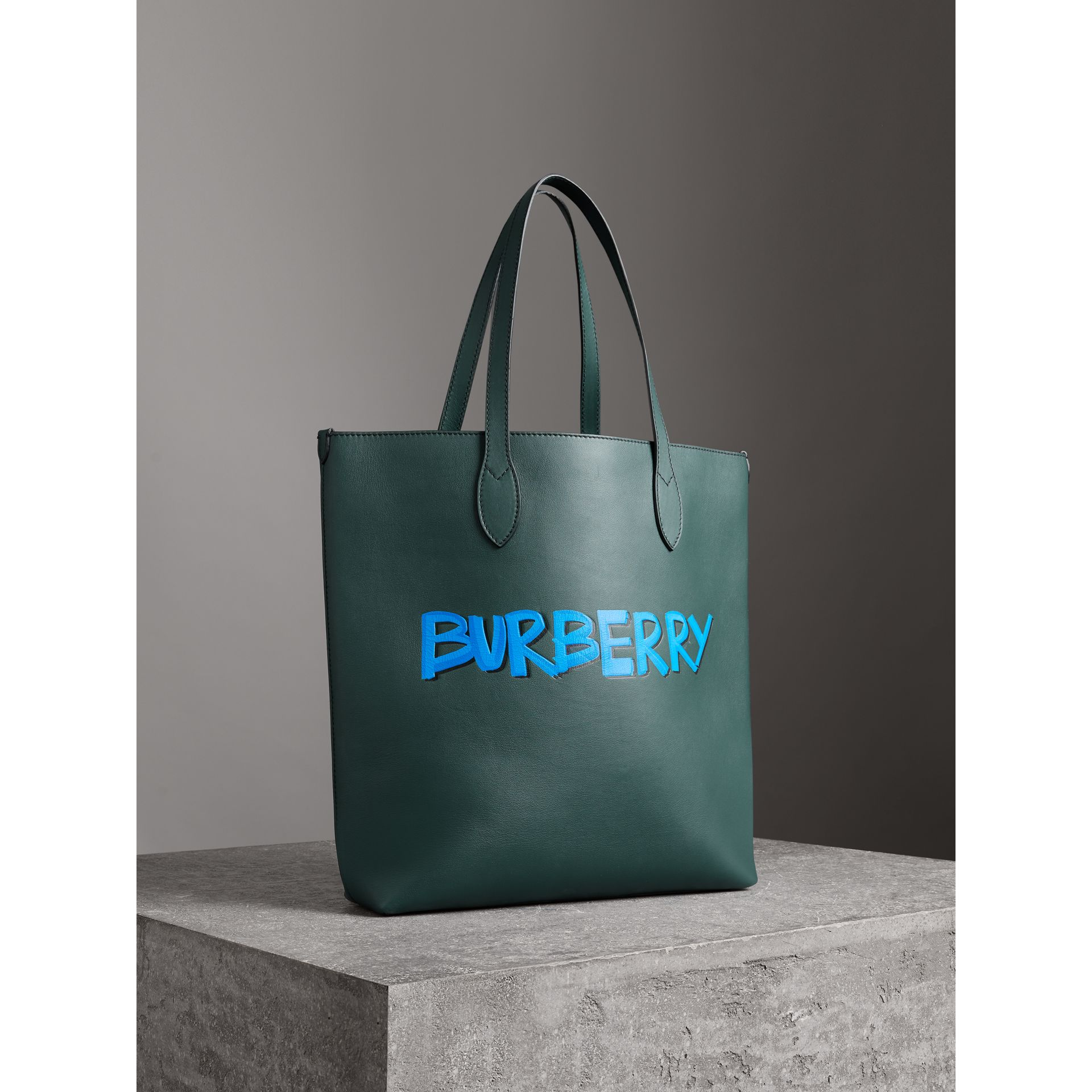 Graffiti Print Bonded Leather Tote in Deep Bottle Green | Burberry - gallery image 6