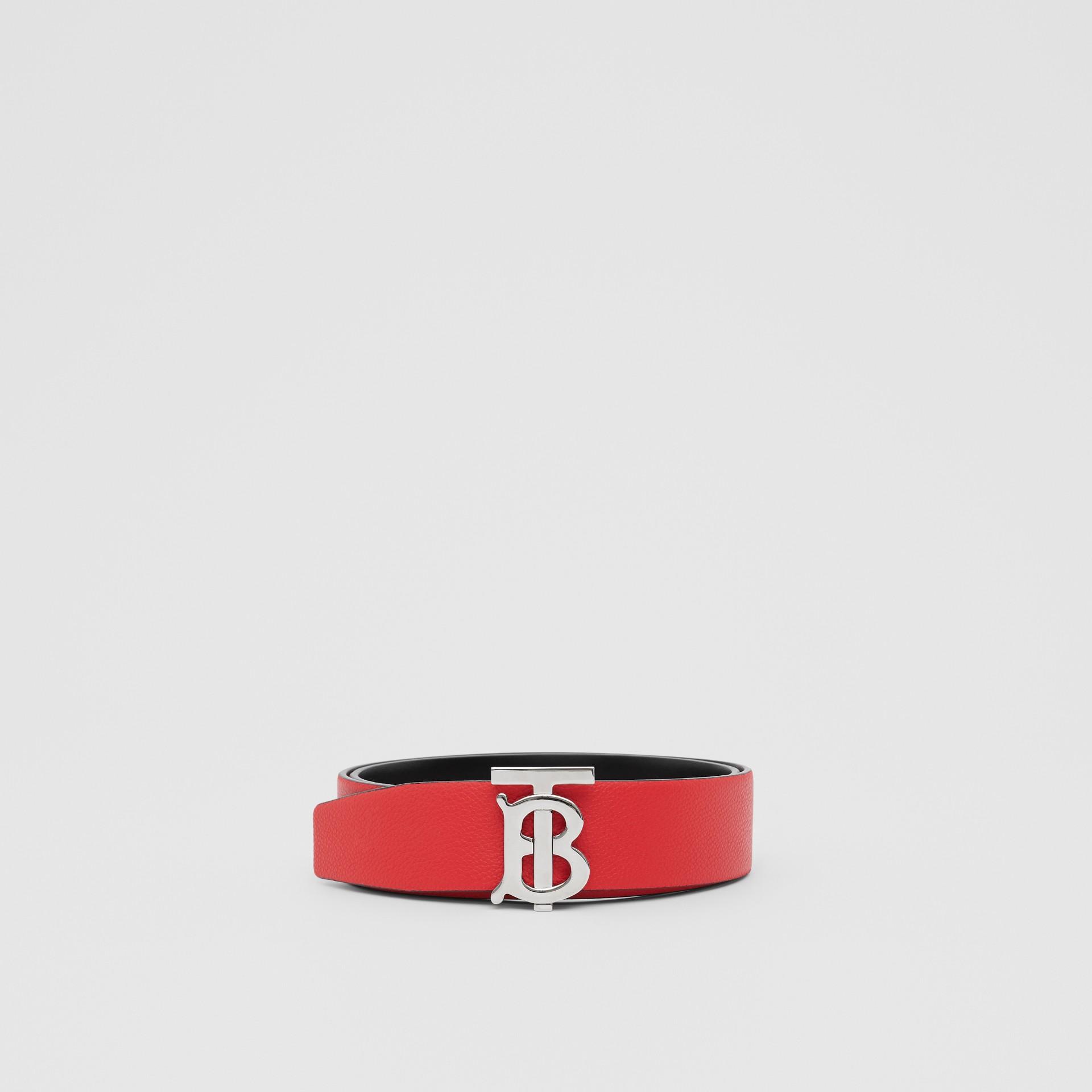 Reversible Monogram Motif Grainy Leather Belt in Military Red/black - Men | Burberry United Kingdom - gallery image 3