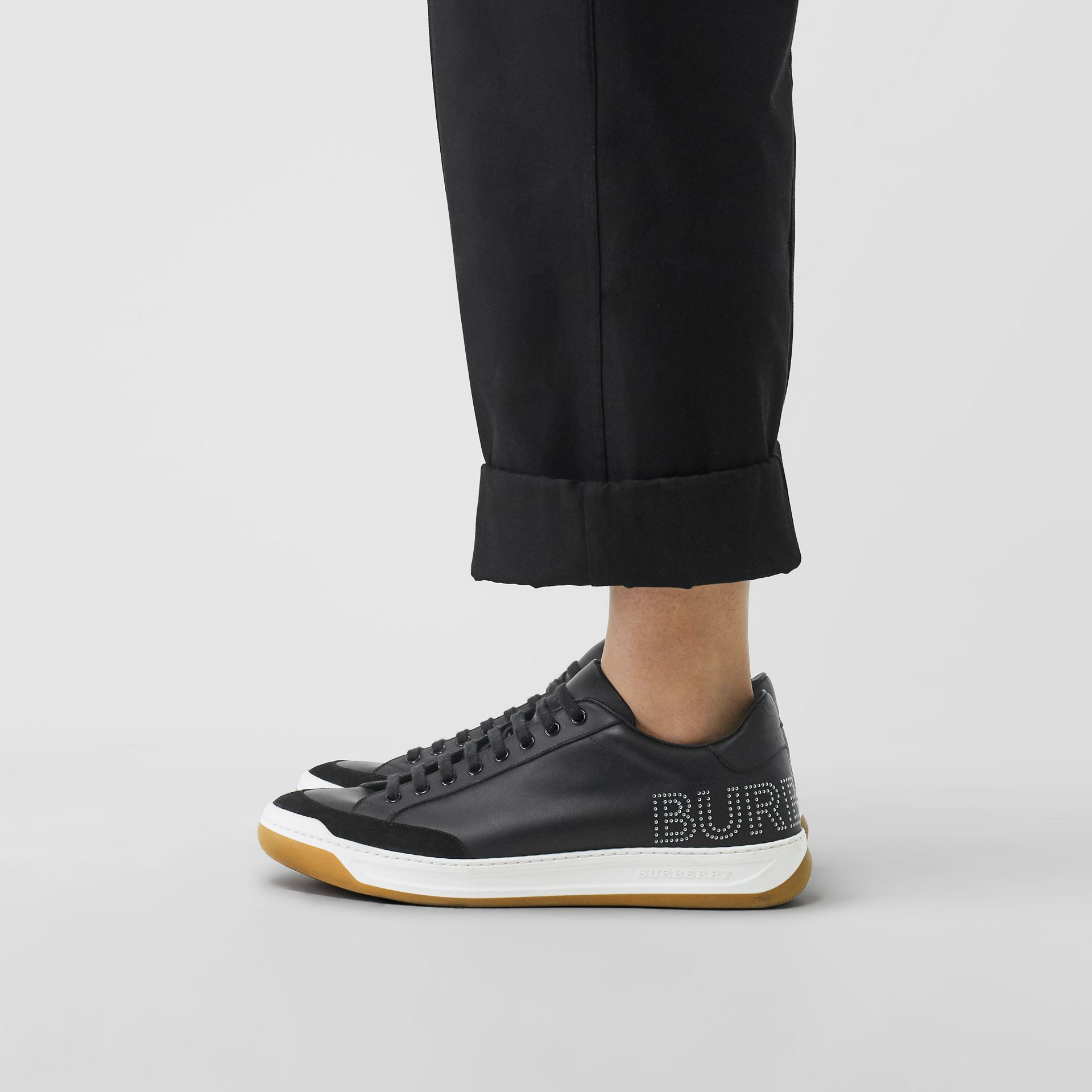 Perforated Logo Leather Tennis Sneakers in Black/optic White - Men | Burberry United Kingdom - gallery image 2