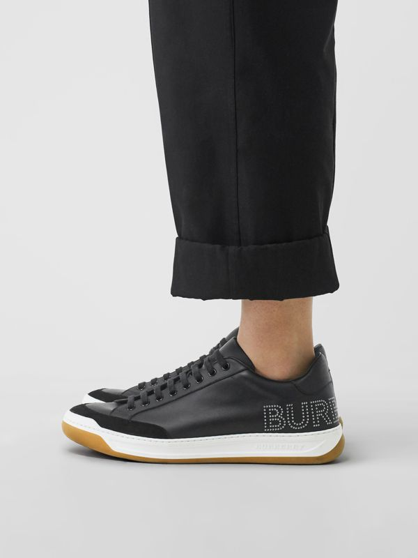 Perforated Logo Leather Tennis Sneakers in Black/optic White - Men | Burberry United Kingdom - cell image 2