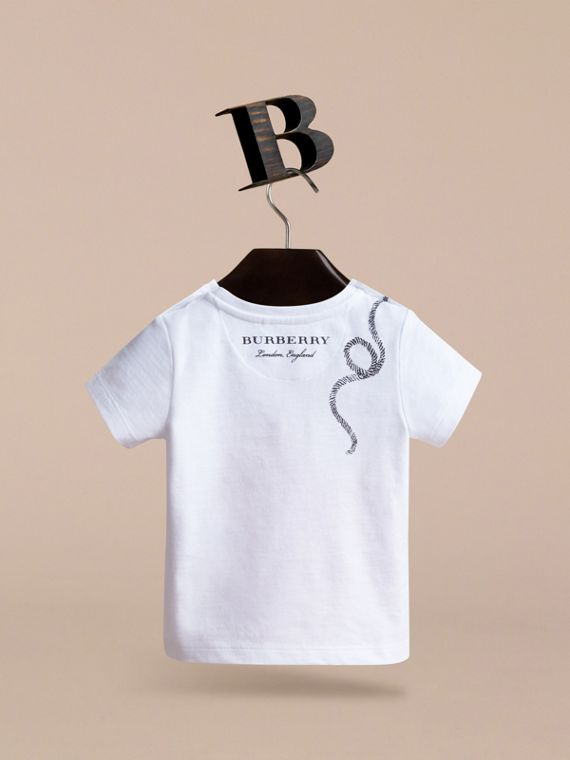 Hooked Heart Motif Cotton T-shirt in White | Burberry - cell image 3