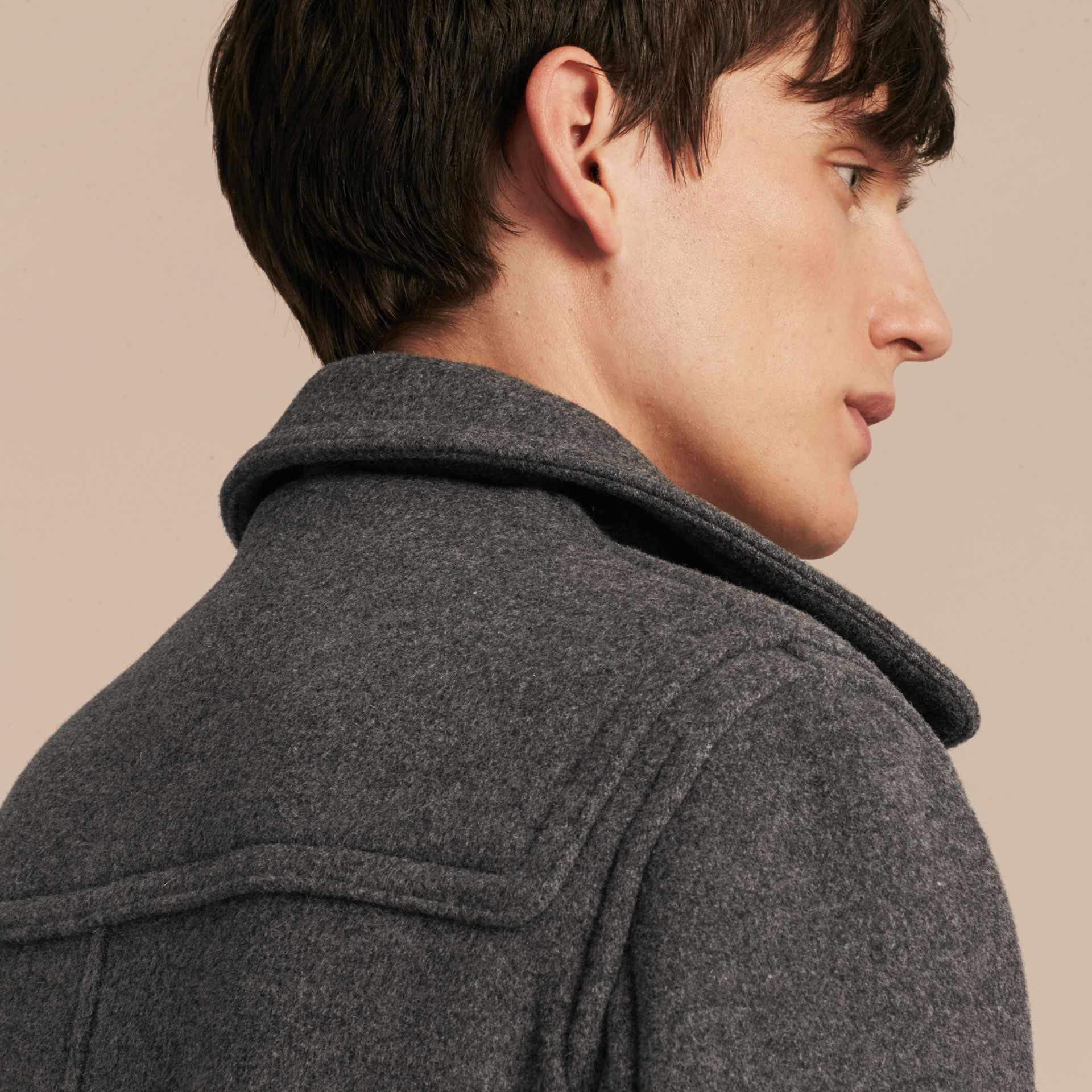 Mid grey melange Wool Detachable Hood Duffle Jacket - gallery image 6