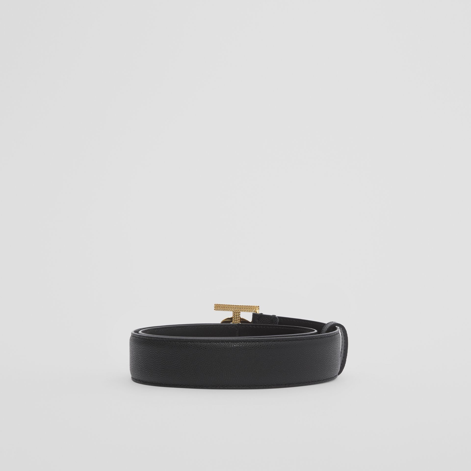 Monogram Motif Grainy Leather Belt in Black/light Gold - Women | Burberry - gallery image 3