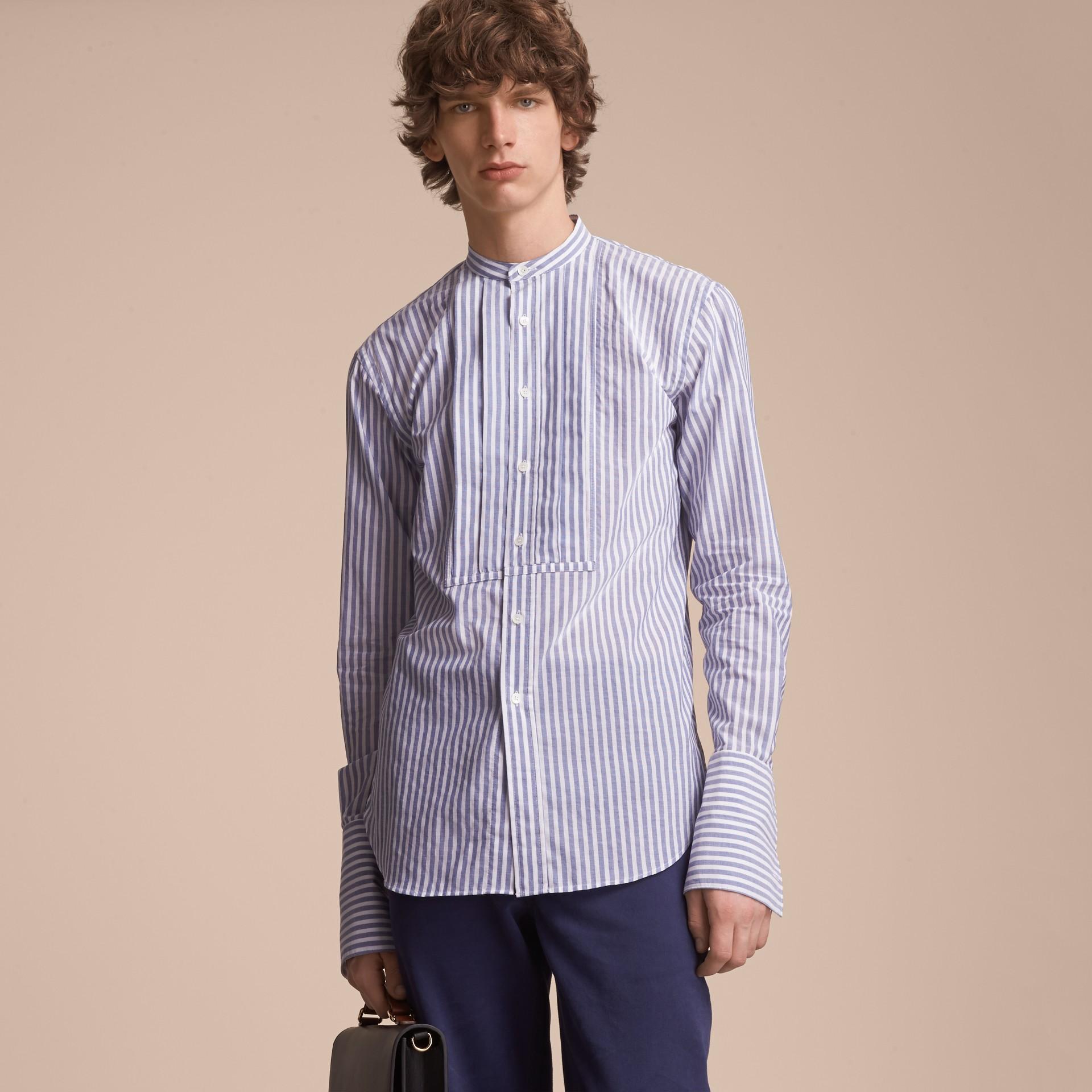 Unisex Pleated Bib Striped Cotton Shirt - gallery image 6