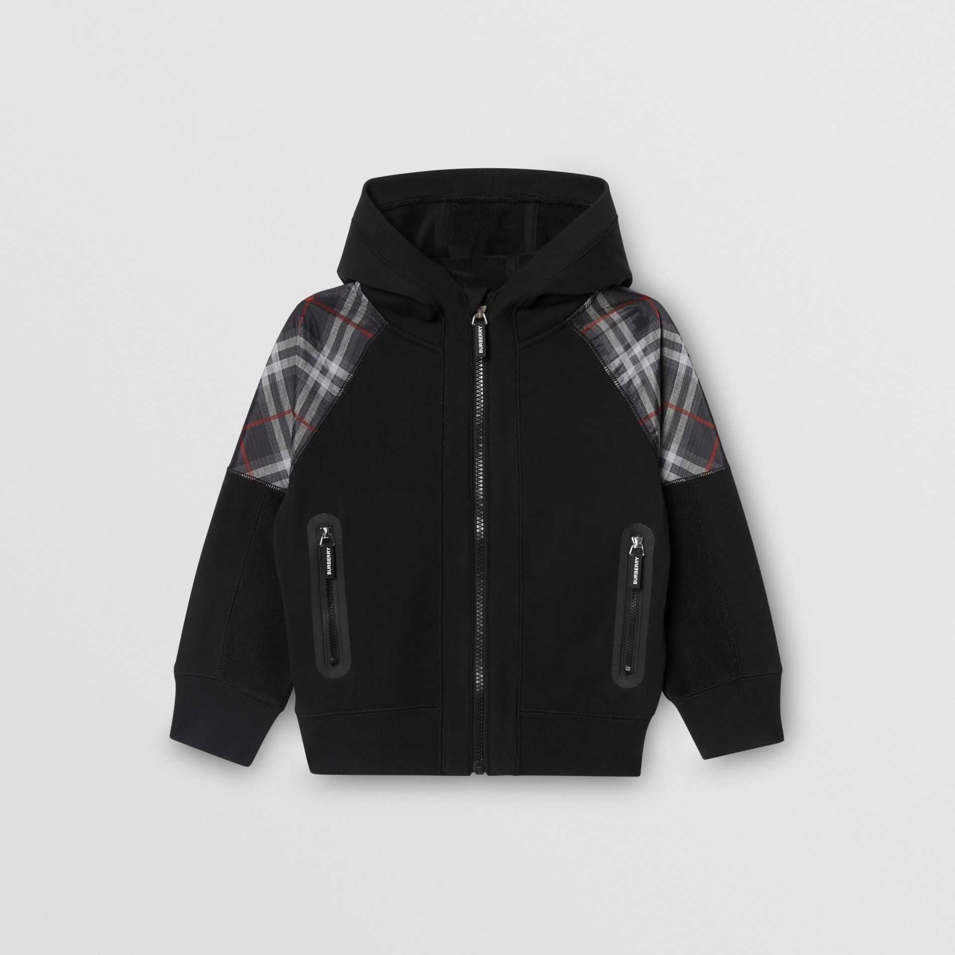 Vintage Check Panel Cotton Hooded Top in Black | Burberry - gallery image 0