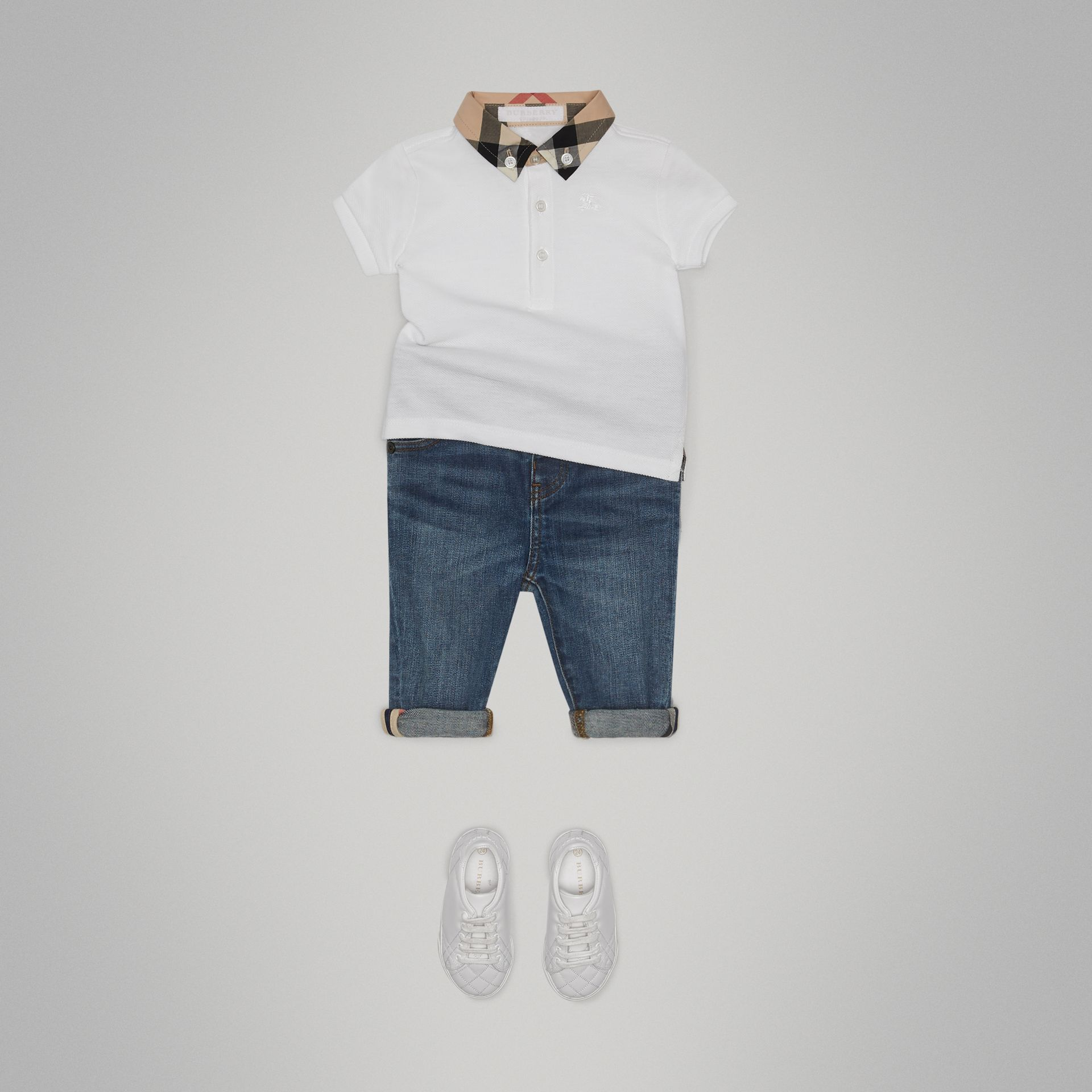 Check Collar Cotton Polo Shirt in White - Children | Burberry Australia - gallery image 2