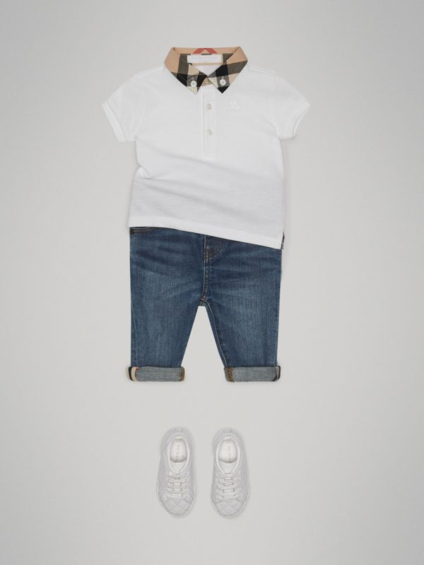Check Collar Cotton Polo Shirt in White - Children | Burberry Australia - cell image 2