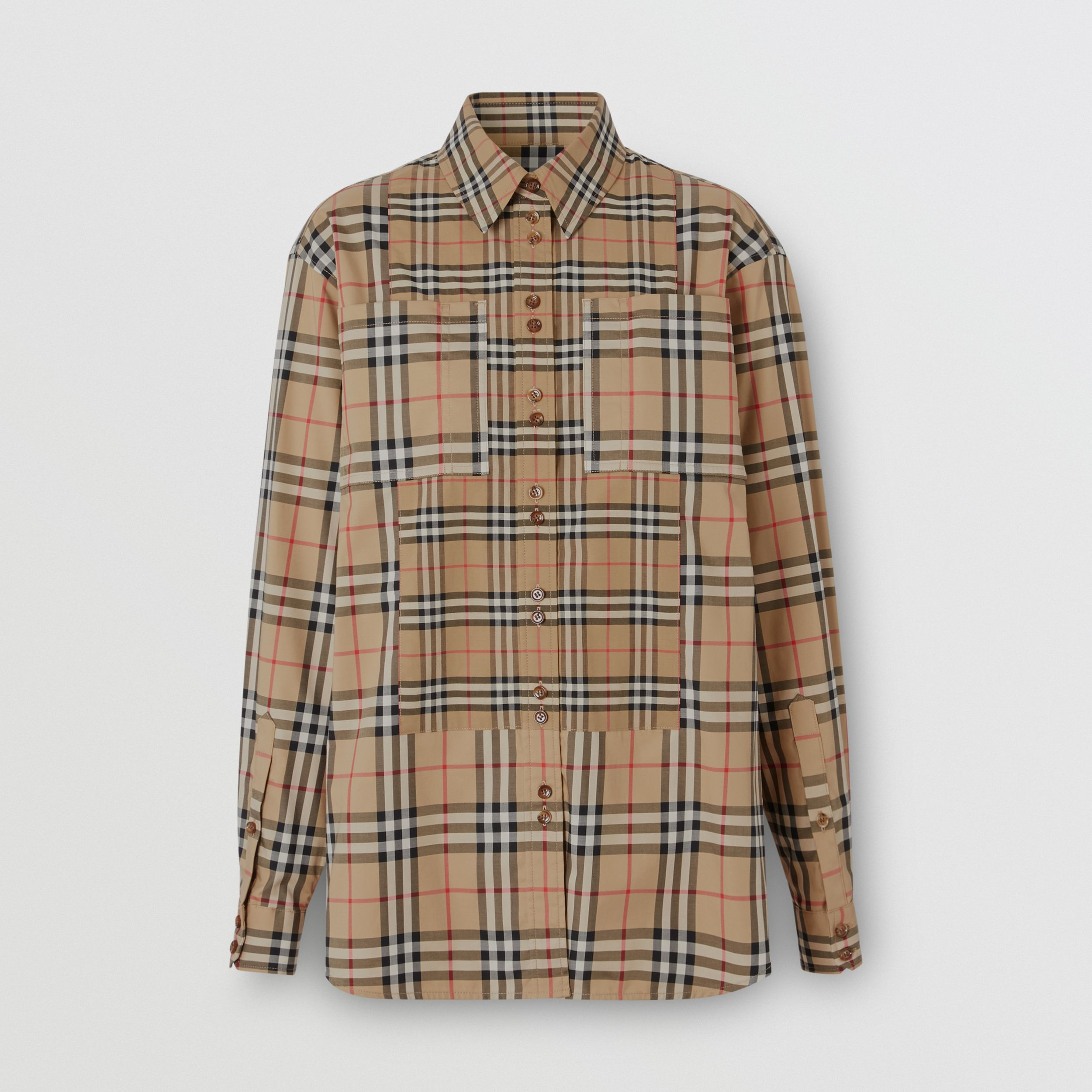 Contrast Check Stretch Cotton Shirt in Archive Beige - Women | Burberry - 3