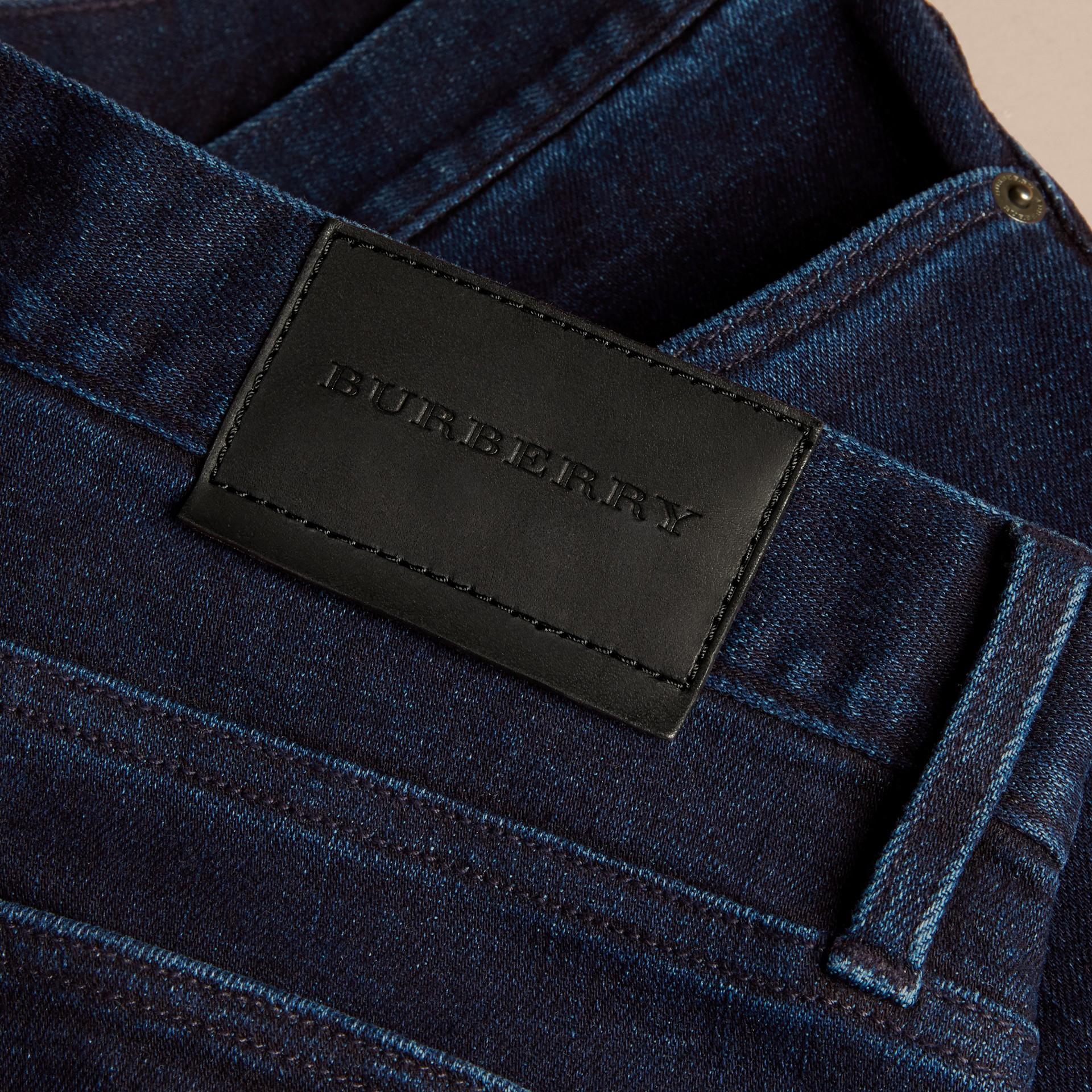 Dark indigo Straight Fit Indigo Stretch Denim Jeans - gallery image 2
