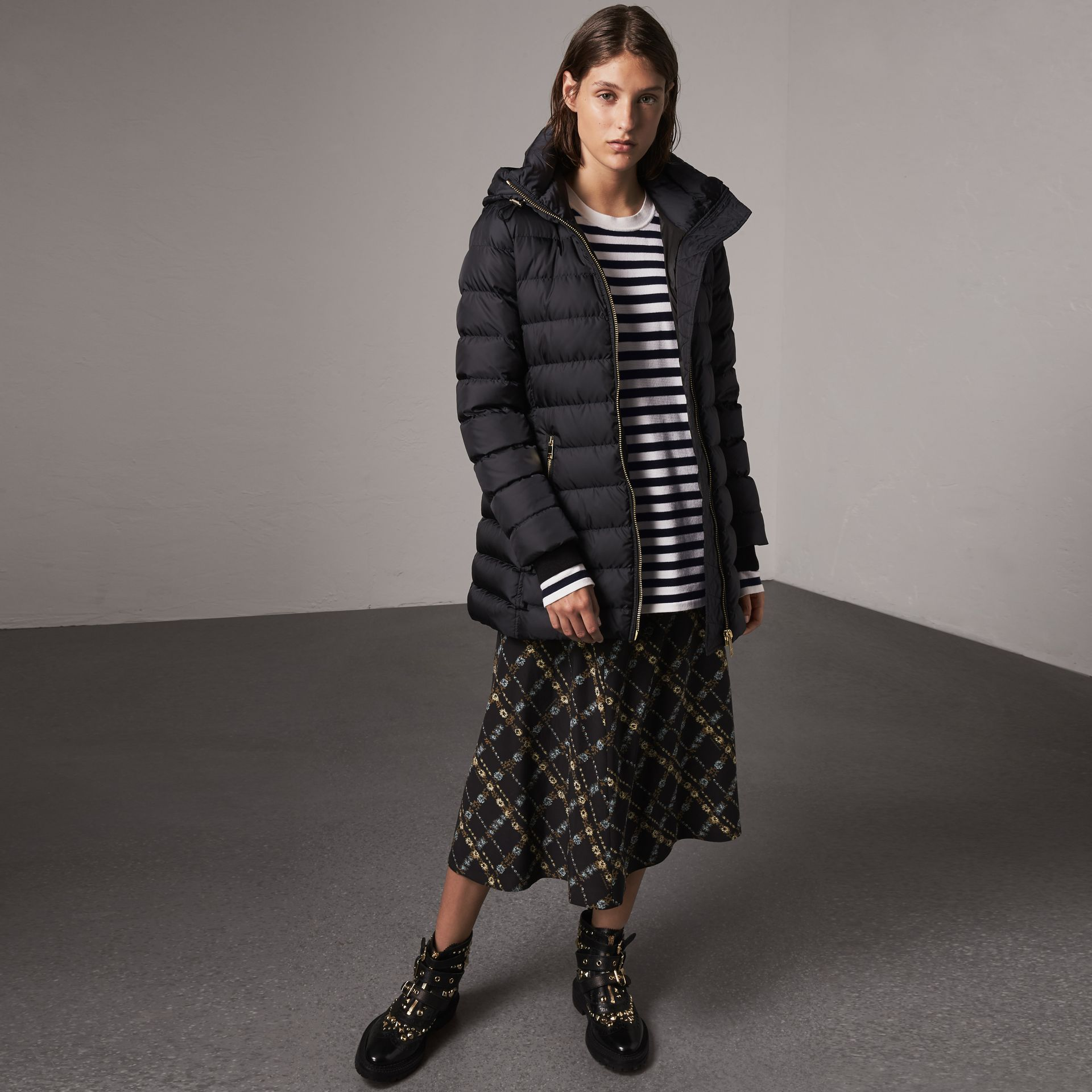 Hooded Down-filled Puffer Jacket in Navy - Women | Burberry - gallery image 0