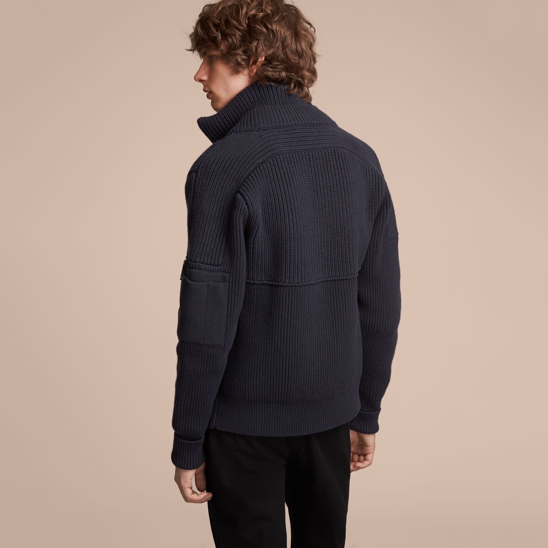 Knitted Cotton Cashmere Flight Jacket in Navy - Men | Burberry - gallery image 3
