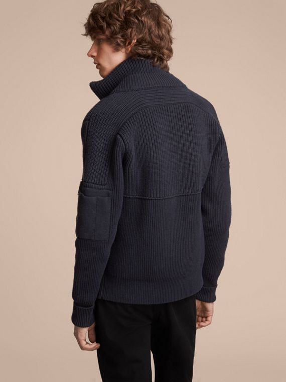 Knitted Cotton Cashmere Flight Jacket in Navy - Men | Burberry Australia - cell image 2
