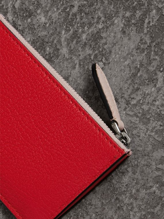 Two-tone Leather Zip Card Case in Bright Red | Burberry - cell image 2
