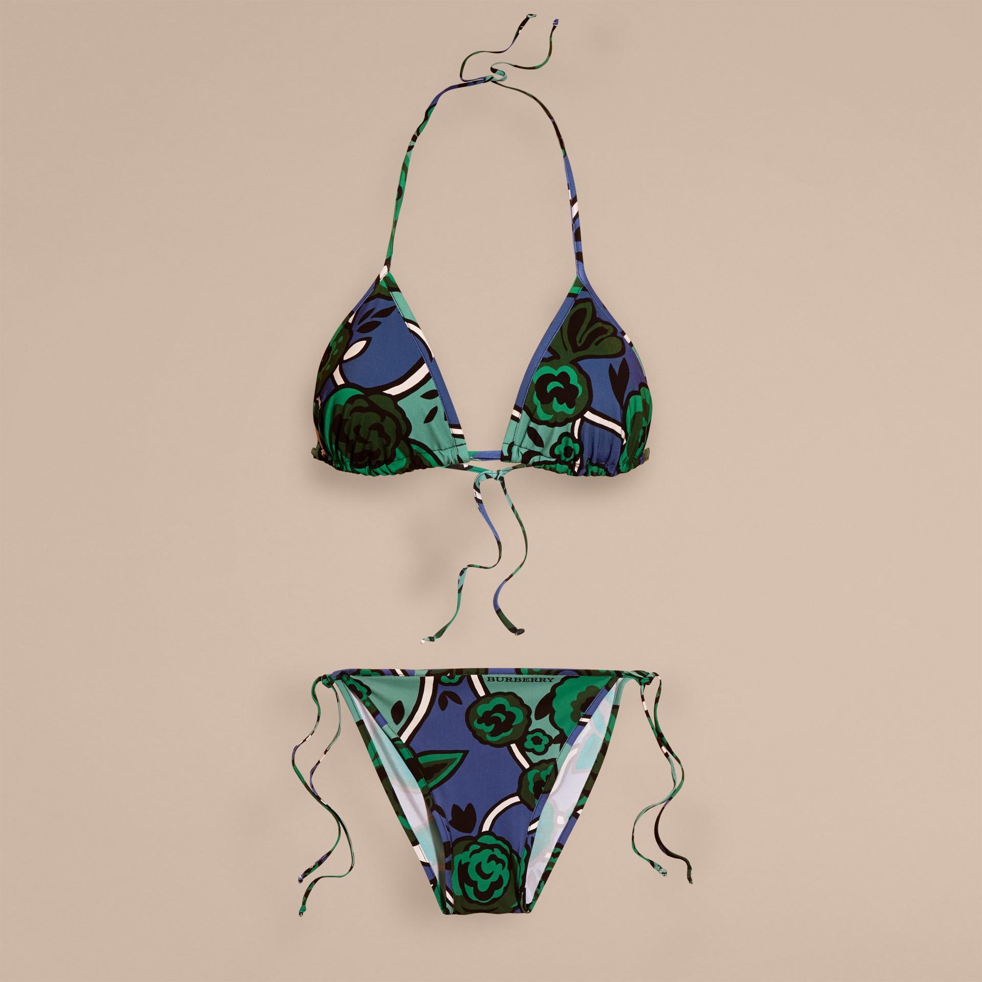 Blu acciaio intenso Bikini a triangolo con stampa floreale Blu Acciaio Intenso - immagine della galleria 4