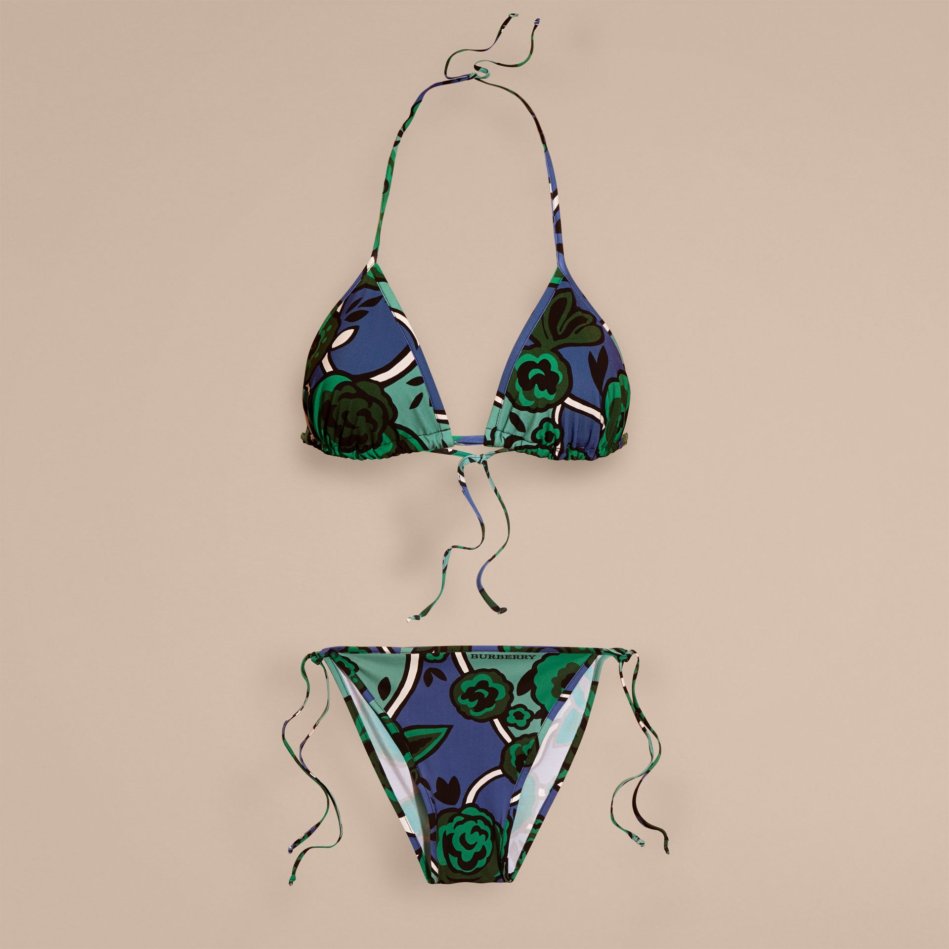 Bright steel blue Floral Print Triangle Bikini Bright Steel Blue - gallery image 4