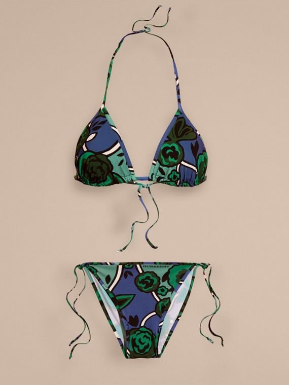 Bright steel blue Floral Print Triangle Bikini Bright Steel Blue - cell image 3