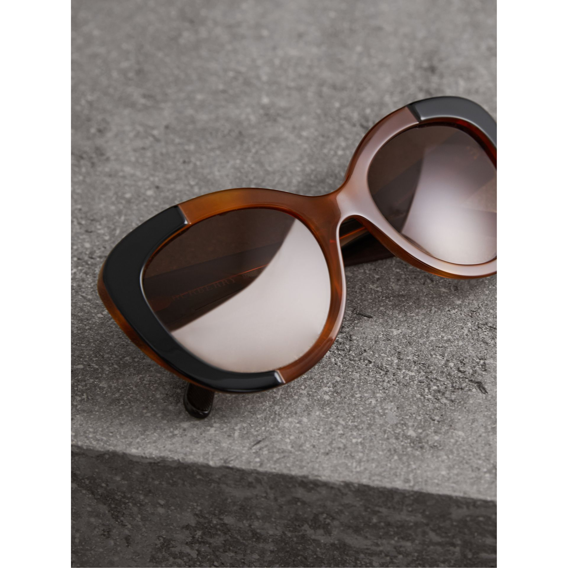 Round Frame Sunglasses in Light Brown - Women | Burberry - gallery image 3