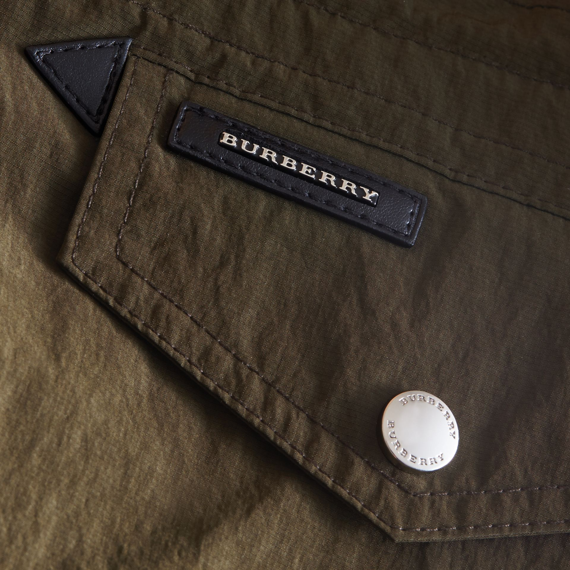 Leather Trim Hooded Utility Jacket in Dark Olive | Burberry - gallery image 2