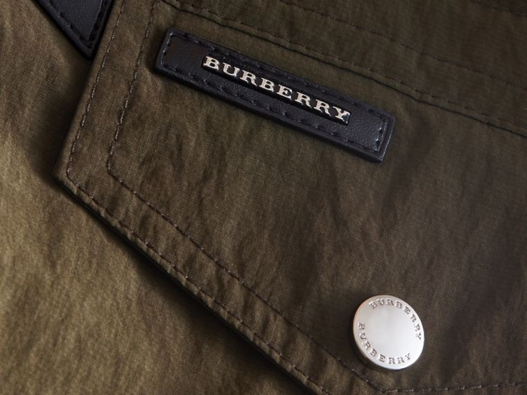 Leather Trim Hooded Utility Jacket in Dark Olive | Burberry - cell image 1