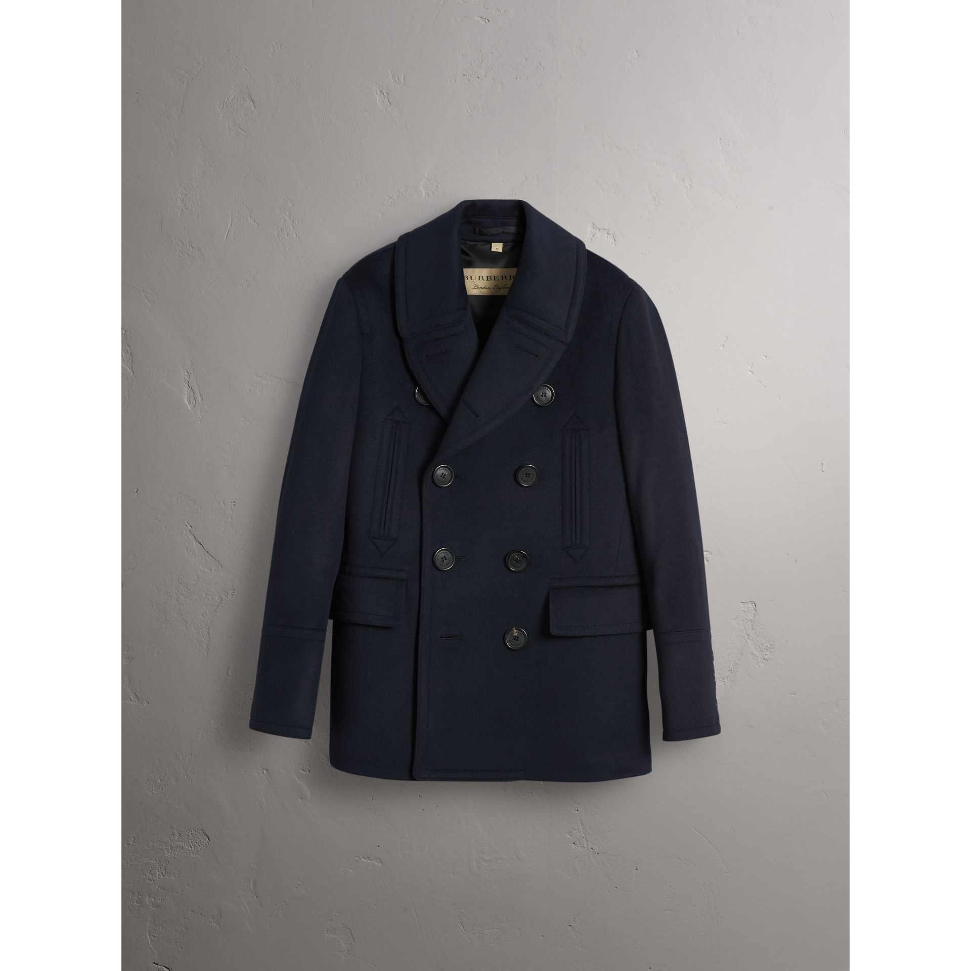 Wool Cashmere Pea Coat in Navy - Men | Burberry - gallery image 4