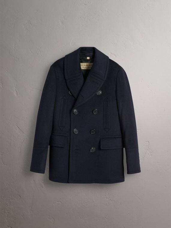 Wool Cashmere Pea Coat in Navy - Men | Burberry Australia - cell image 3