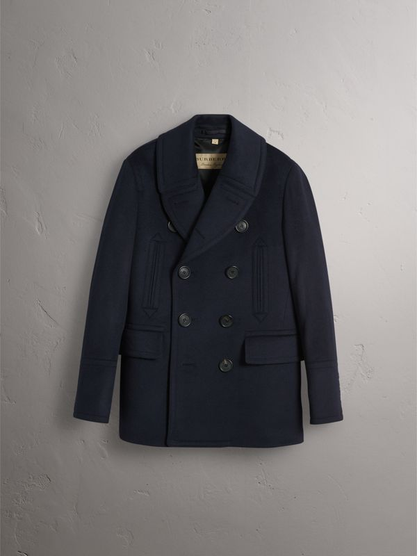 Wool Cashmere Pea Coat in Navy - Men | Burberry - cell image 3