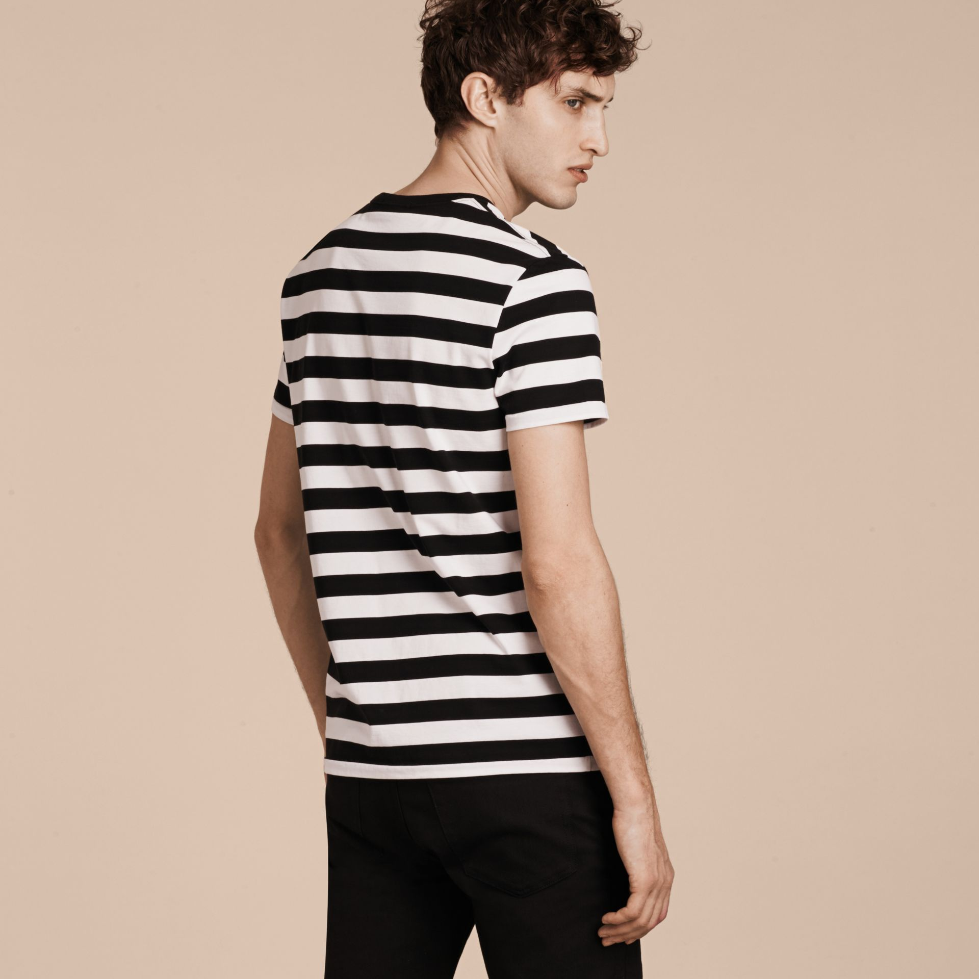 Black Striped Cotton T-Shirt Black - gallery image 3