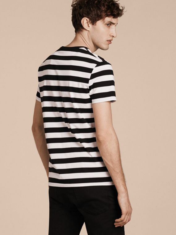 Striped Cotton T-Shirt in Black/white - cell image 2