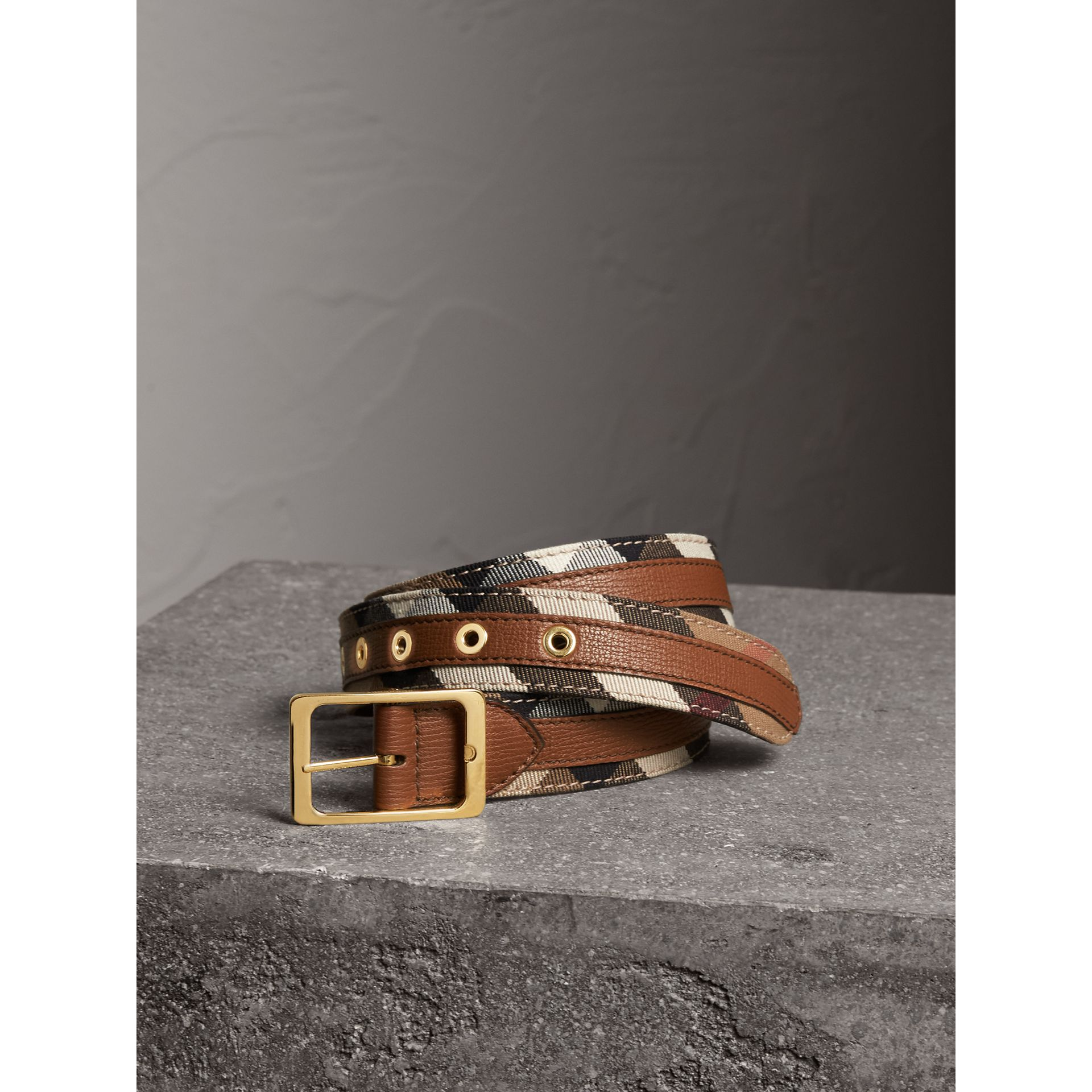 House Check and Grainy Leather Belt in Camel/tan - Women | Burberry - gallery image 1