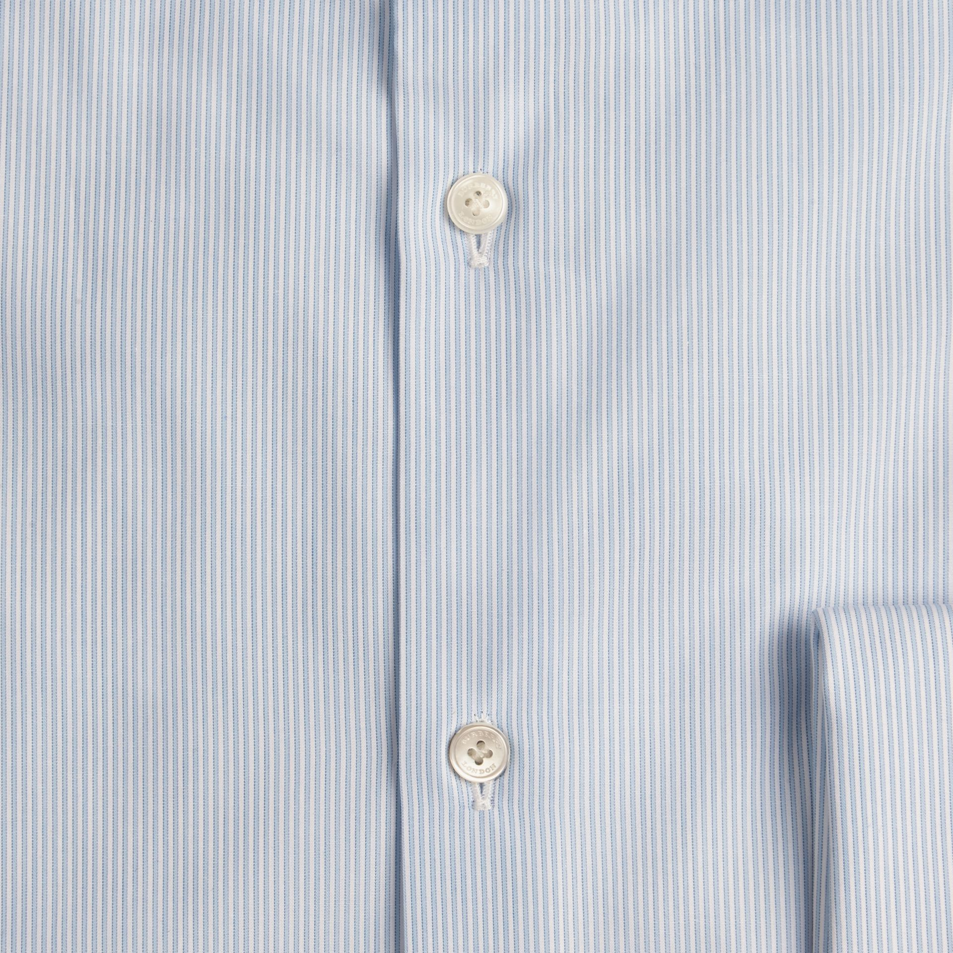 Slim Fit Double-cuff Striped Cotton Poplin Shirt in City Blue - gallery image 2