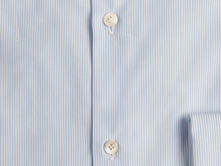 Slim Fit Double-cuff Striped Cotton Poplin Shirt in City Blue - cell image 1