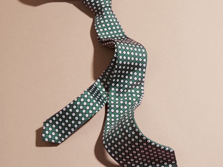 Green black Slim Cut Geometric Print Silk Tie Green Black - cell image 2