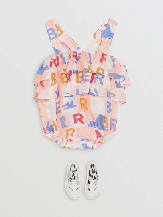 Ruffle Detail Logo Print Cotton Silk Playsuit in Pale Rose