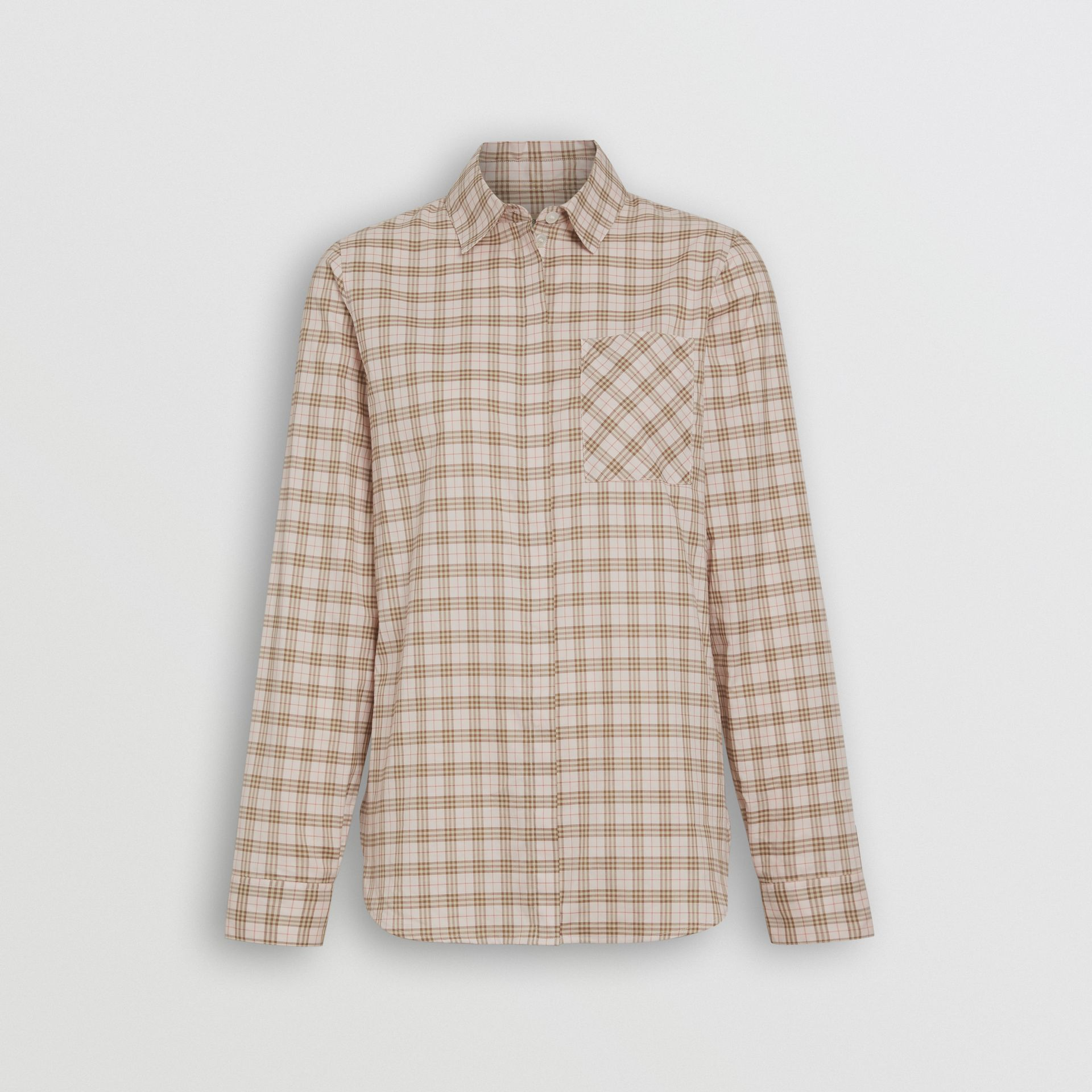 Check Cotton Shirt in Ice Pink - Women | Burberry - gallery image 3